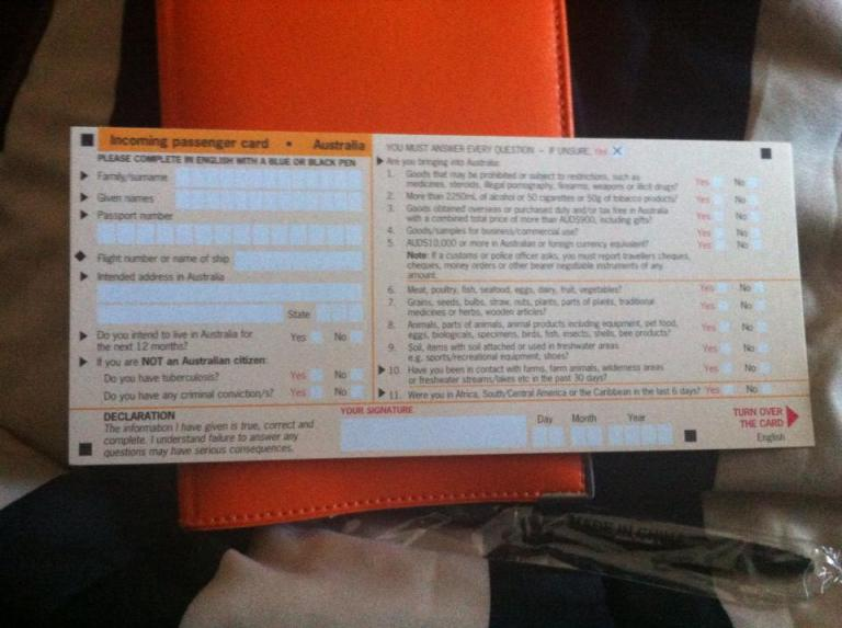 compilare l'incoming passenger card