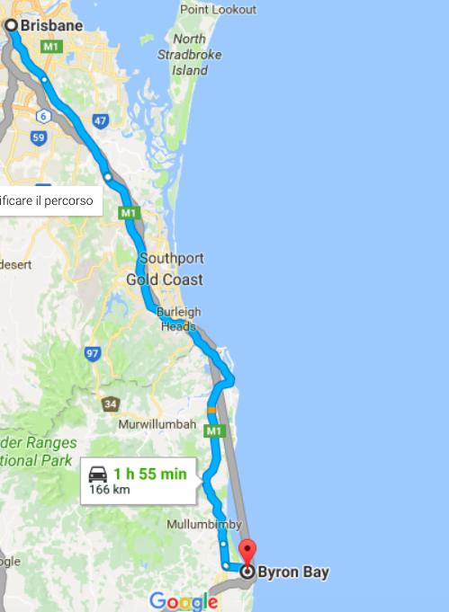 tragitto in auto da Brisbane a Byron Bay