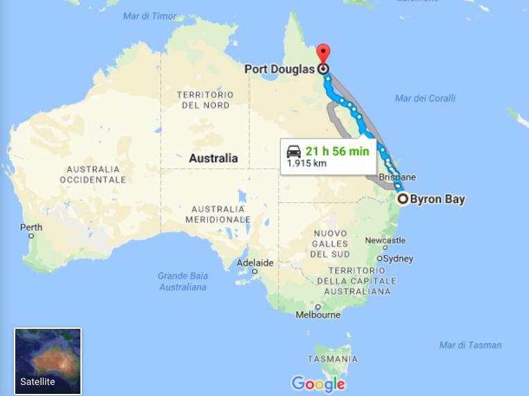 mappa dell'Australia con tragitto del viaggio in auto