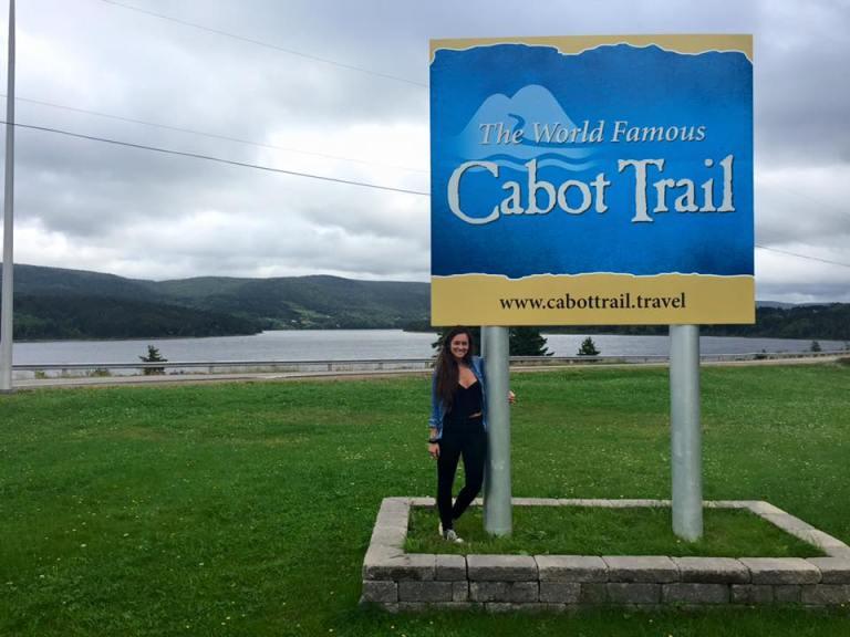 Cabot Trail foto con cartello